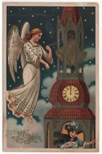 Vintage New Year Greetings Post Card, Angel Ringing The Tower Bells