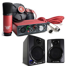 Focusrite Scarlett Solo Studio 2nd Pro Tools Recording Bundle + M-Audio Monitors