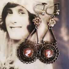 Antique Victorian Shoulder Dusters Dangling Cameo Silver 800 Hallmarked Earrings