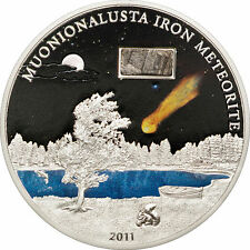 2011 MUONIONALUSTA IRON METEORITE Silver Coin 5$ Cook Islands RARE