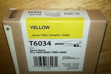 07-2016 NEW GENUINE EPSON T6034 YELLOW 220ml INK STYLUS PRO 7800 9800 7880 9880