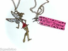 NWT BETSEY JOHNSON *TINKERBELL* ANTIQUE GOLDTONE & CRYSTAL NECKLACE