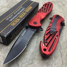 Tac Force Spring Assisted Open Red High Carbon Tactical Rescue Pocket Knife