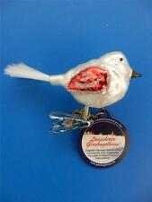 MINI RED WHITE BIRD VOGEL GERMAN BLOWN GLASS CHRISTMAS ORNAMENT CLIP ON