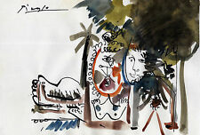 PABLO PICASSO 0038 - SIGNED  DRAWING ON OLD ORIGINAL PAPER