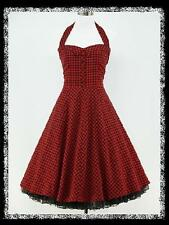 dress190 RED & BLACK CHECK 50s/60s/70s ROCKABILLY COCKTAIL PARTY DRESS 22-24