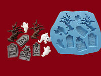Halloween Grave Yard Tree Ghost silicone mould Set Sugarcraft Cake Decorating