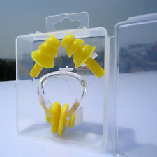 Silicone Swimming Set Nose Clip + Ear Plug + Box Kids Adults for Sea Swim Yellow