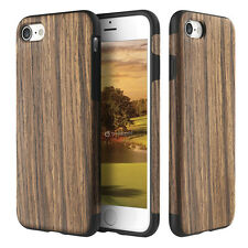 For Apple iPhone 6S & Plus Hybrid Shockproof Natural Bamboo Wood Wooden Case