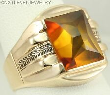 Antique 1920's Art Deco GOLDEN Sapphire Hand Engraved 10k Solid  Gold Men's Ring