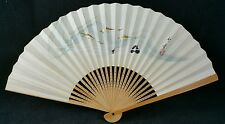 Pretty 44cm Wide Oriental Bamboo & Paper Fan with Fish and Calligraphy designs
