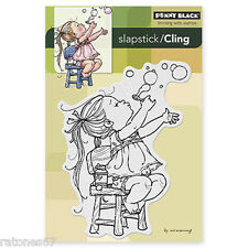 New Penny Black BUBBLE GIRL Slapstick Cling Rubber Stamp Kid Play Time Child