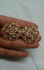 Vintage runway statement signed Swan Swarovski pink crystal clip on earrings