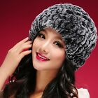 060108 New Womens Winter Warm Hats Real Rex Rabbit Fur Hat Knit Beanie Cap