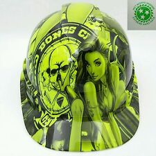 Hard Hat custom hydro dipped , OSHA approved BAD BONES CLUB LIME GREEN