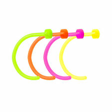 "4Pc Nose rings Hoops Black Light 18g 5/16"" 8mm Multiple Colors"