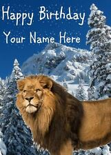 Lion Snow Birthday Card PIDN40 A5 Personalised Greeting Card mum dad friend