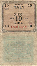 10 LIRE ISSUED IN ITALY SERIES 1943 ALLIED MILITARY CURRENCY