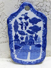 WHITE BLUE WILLOW KITCHEN CHOPPING CUTTING BOARD ORIENTAL ASIAN CHINESE PAGODA