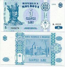 MOLDOVA 5 LEI 1994 P 9 UNC