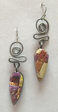 Twist Earrings Copper Silver Purple Mosaic Clay Handmade Pierced Dangle New Gift