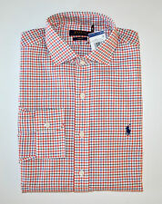 NWT Men's Ralph Lauren Casual Long-Sleeve Shirt, Orange, White, Blue, L, Large