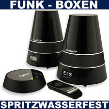 Aktiv Wireless Boxen Funk Lautsprecher Spritzwasserfest Garten Bad TV MP3 iPHONE