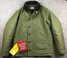 The Real McCoy's Khaki N-1 Deck Jacket w/ Alpaca Lining, Size 40 - Made in Japan