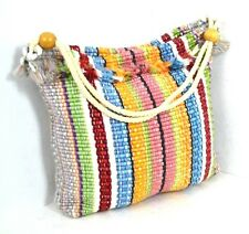 WHITE / BLUE / YELLOW CANVAS BOHO HOBO EXTRA LARGE SHOULDER BAG HANDBAG