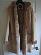 DINO'Z gorgeous hooded faux sheepskin winter coat in beige SIZE M UK 12 NEW