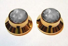 Guitar Parts METAL TOPHAT Skirt KNOBS - BLACK PEARL TOP - Set of 2 - GOLD