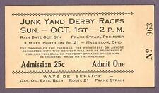 Rare TICKET for 1930s JUNKYARD DERBY RACES Massillon, Ohio