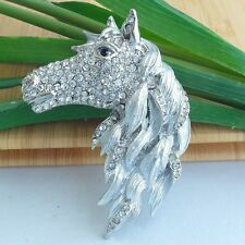 Classic Clear Austrian Crystal Animal Horse Brooch Pin Jewelry Art Deco 06535C2