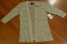 NWT Womens UNITED STATES SWEATERS Stone Combo 3/4 Sleeves Open Front Cardigan S