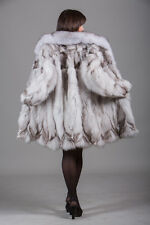 Blue Fox Fur Coat Fox Collar Knee Length Women's  Brand New All sizes MEXA