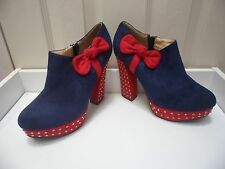 Womens Ladies Blue/Red High Block Heel Bow Shoes Ankle Boots Size UK 8 EU 41 New