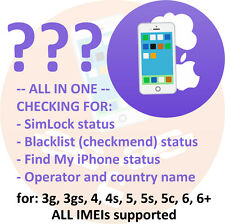 iPhone FULL simlock Carrier Country GSX Blacklist check for 5 5s 5c 6 6+ 6s 7 7+