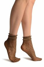 Brown With Little Dots And Silky Comfort Top Ankle High Socks (SA002900)