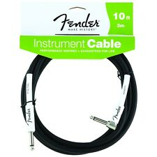 Fender FG10L Performance Guitar Bass Keys Cable Straight-Right-Angle 10' Black