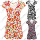 NEW WOMENS FLORAL ANIMAL PRINT PLAYSUIT LADIES SHORTS DRESS SUMMER TOP SUIT LOOK
