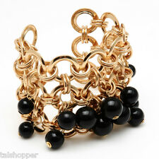 NWT $100 Amrita Singh Gold Chinolli Cuff Bollywood Bracelet RARE Black Beads