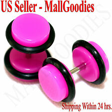 2027 Dark Hot Pink Fake Cheater Illusion Faux Ear Plugs 16G Bar 0G = 8mm - 2pcs