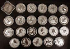 1990 to 2012 Australia Kookaburra 1 Oz .999 Fine Silver 23 Coin Set