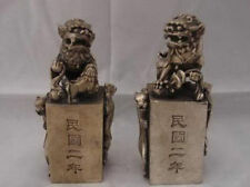 china folk collecton!Tibetan silver SEAL pair dragon famous Kirin statue