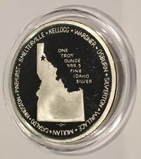 RARE Idaho Landmarks Silver Valley 1 Troy Oz .999 Fine PROOF Coin Round Kellogg