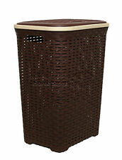 Marrone Scuro 60l Woven Stile IN PLASTICA RATTAN Cesto Biancheria Bin Storage Box