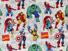 FAT QUARTER  MARVEL COMIC SUPERHERO COTTON FABRIC HULK CAPTAIN AMERICA IRON MAN