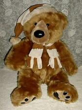 "JC Penney Teddy Bear Plush 28"" Golden Brown w Hat & Scarf Holiday Collection"