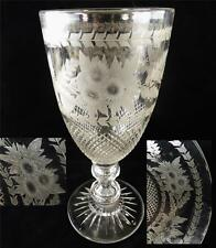 FINE ANTIQUE BRITISH GLASS CELERY VASE HAND ENGRAVED WITH FLOWERING BRANCHES