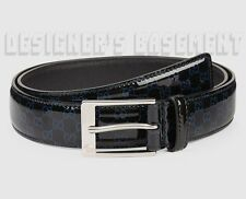 GUCCI black patent 36 blue raised GUCCISSIMA Leather silver buckle Belt NWT Auth